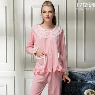 优质全棉春秋女士长袖开衫睡衣宫廷蕾丝对襟纯棉长袖家居服代理