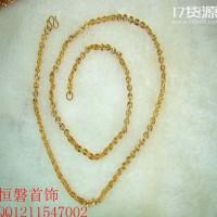 【项链】韩版O形闪亮项链 黄铜首饰现场加工发财链 微商货源