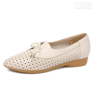 窝边草新款休闲低跟女鞋子真皮系带镂空粗跟深口单鞋女 代理微店