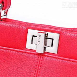 2017新款荔枝纹通勤包转锁双层夹层时尚手提包单肩包斜跨女包